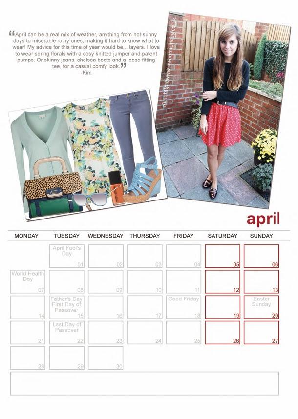 Stylefruits blogger calendar, Sweet Monday, April