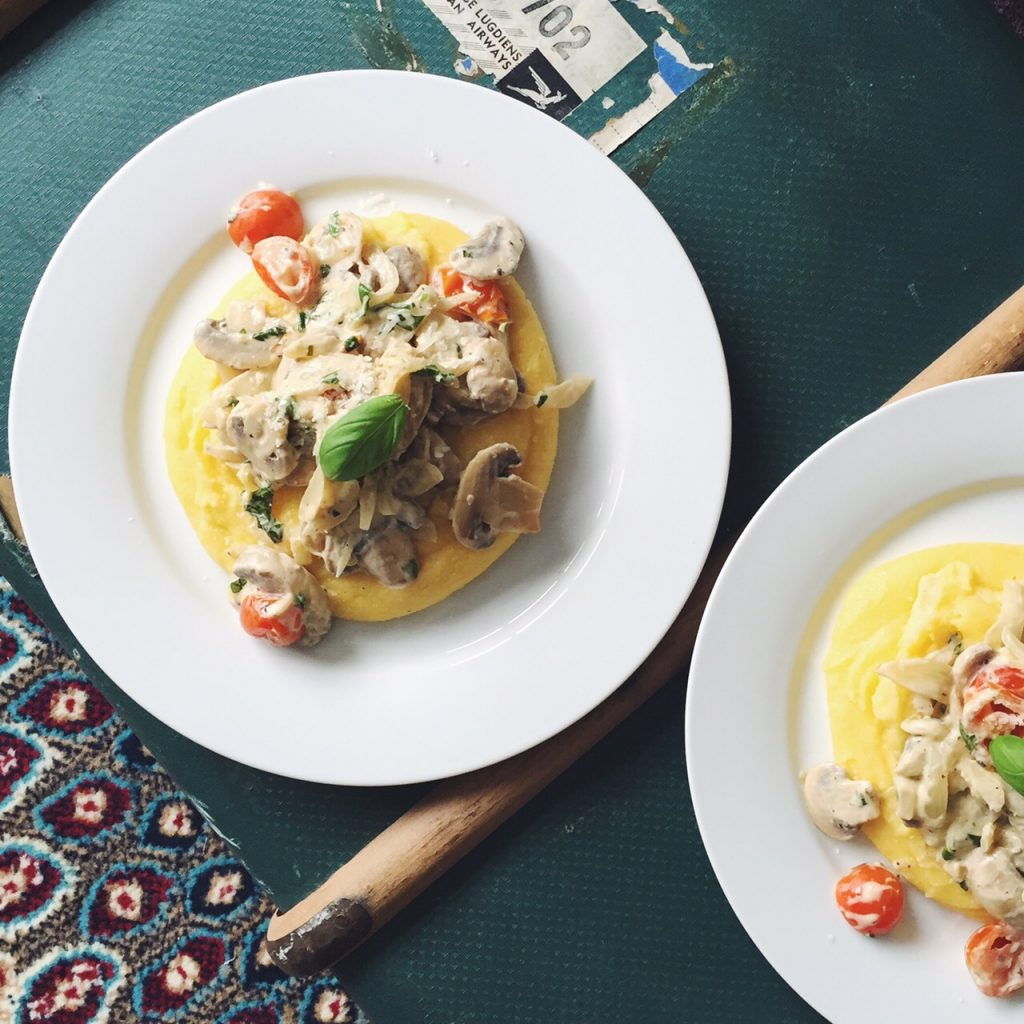Sweet Monday recipes, mushroom ragu, creamy polenta
