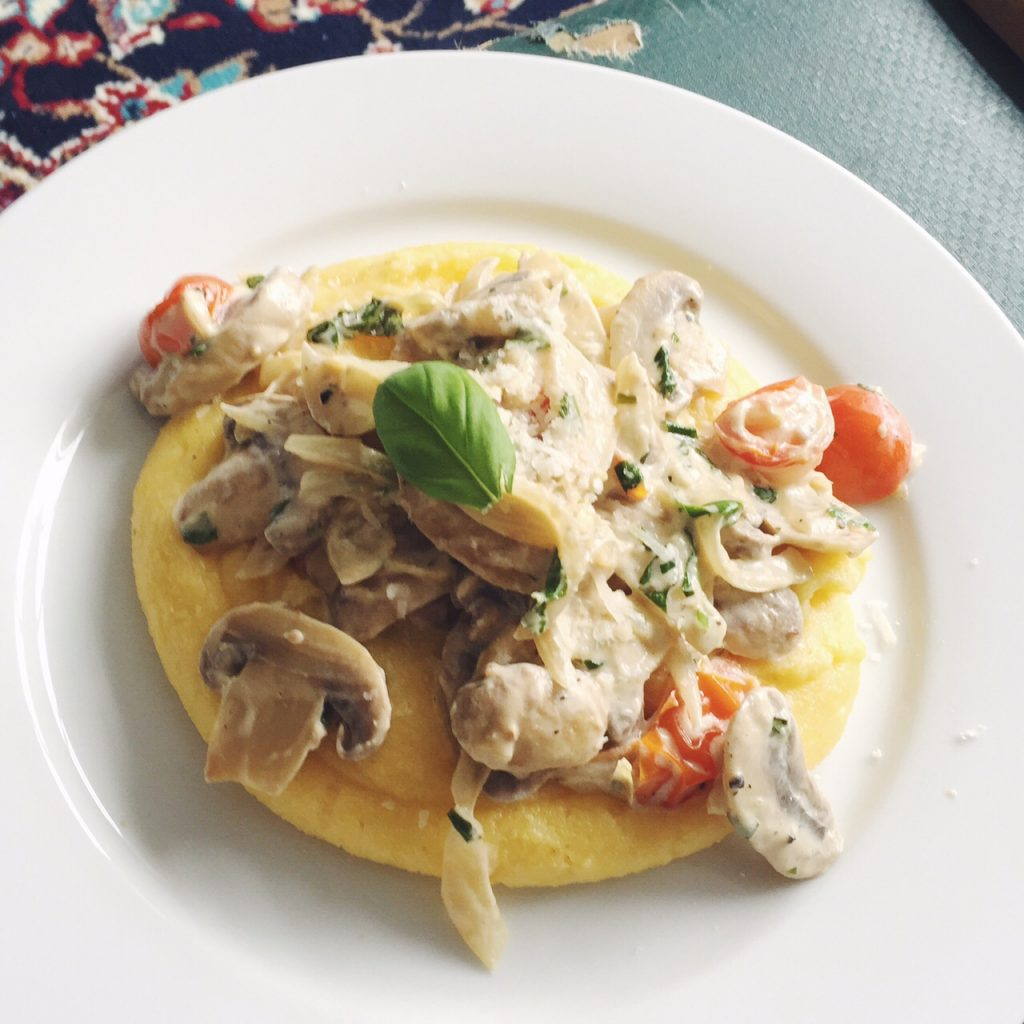 Sweet Monday recipes, mushroom and basil ragu, parmesan polenta