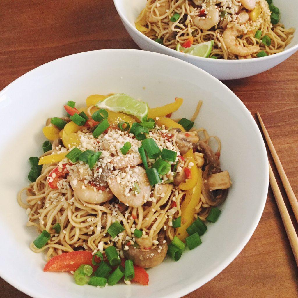 Sweet Monday recipes, prawn noodle stir fry