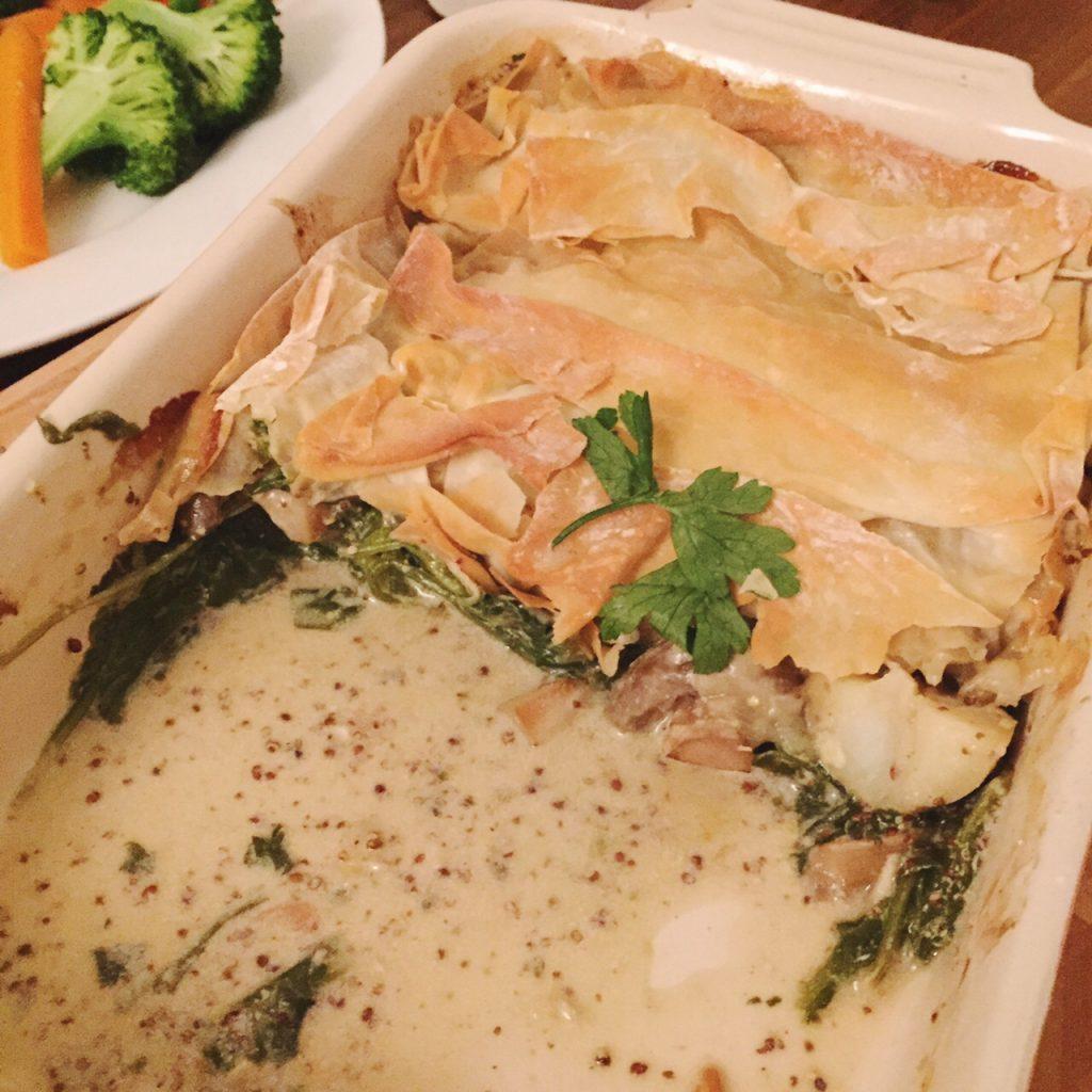 Sweet Monday recipes, mushroom spinach and potato pie, mushroom wellington