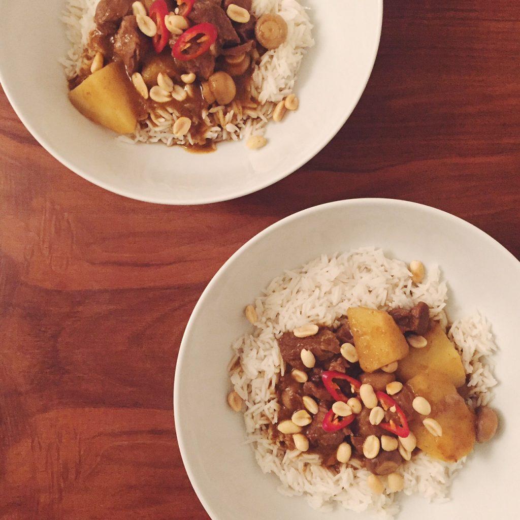 Homemade beef Massaman curry