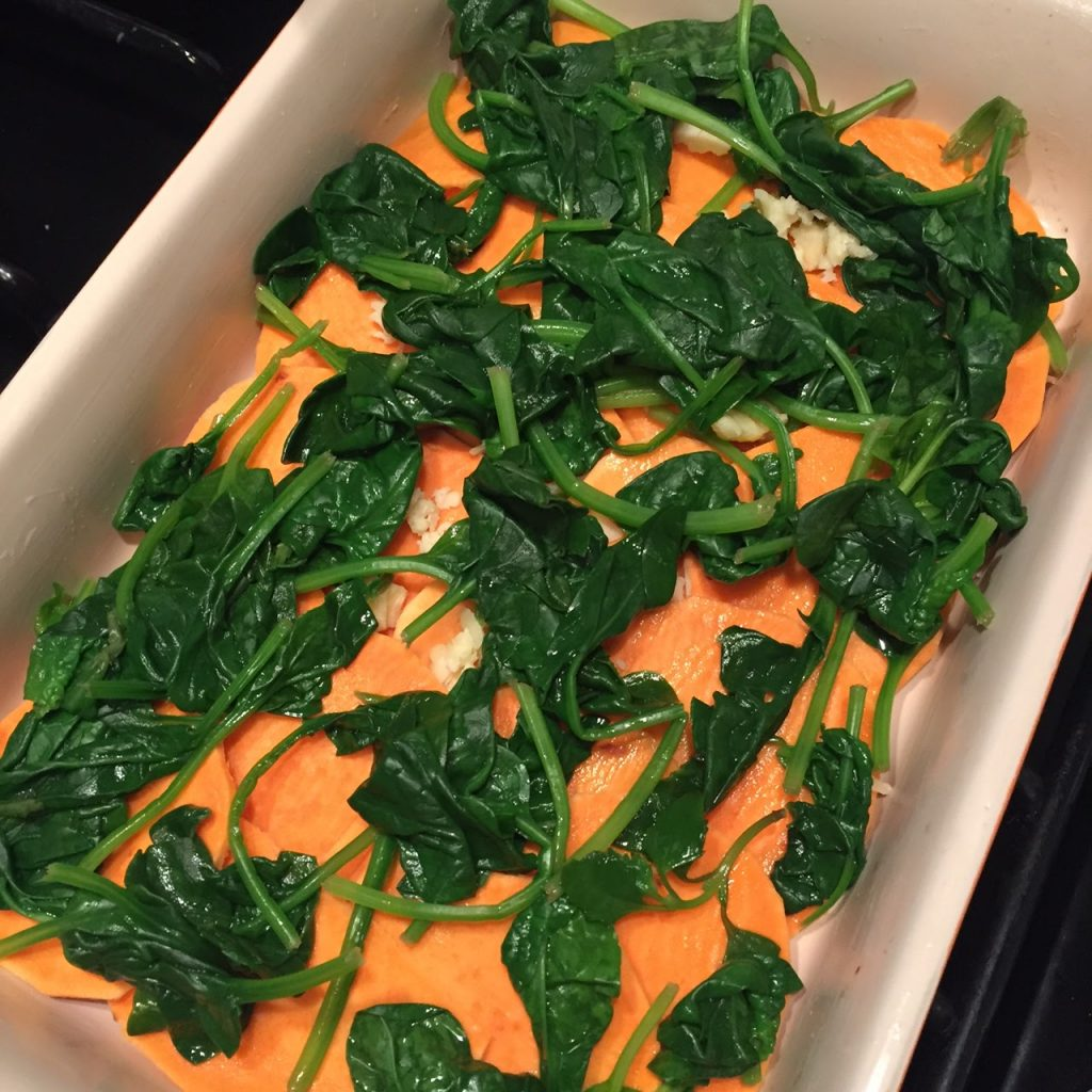 Sweet potato and spinach bake recipe