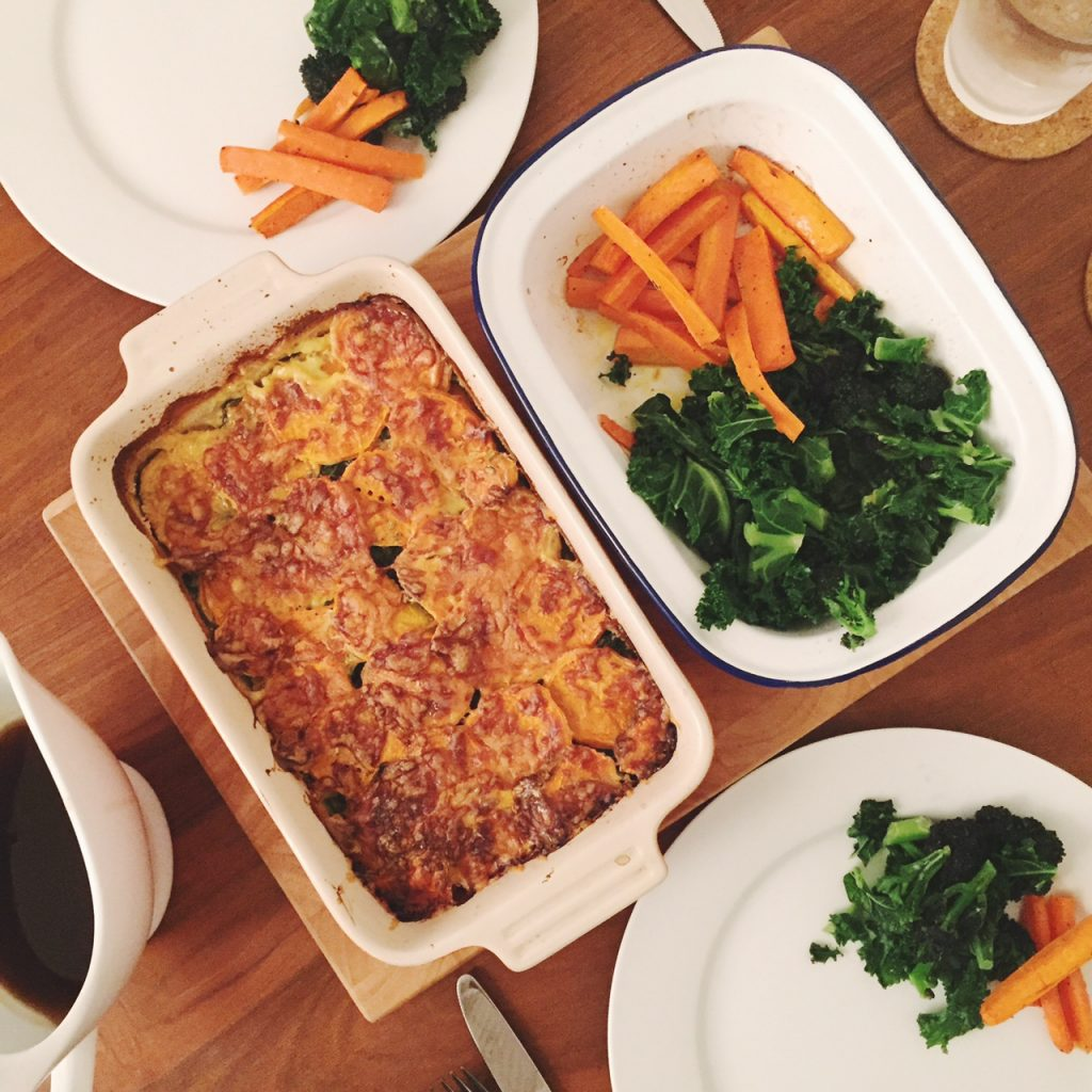 Sweet potato and spinach bake