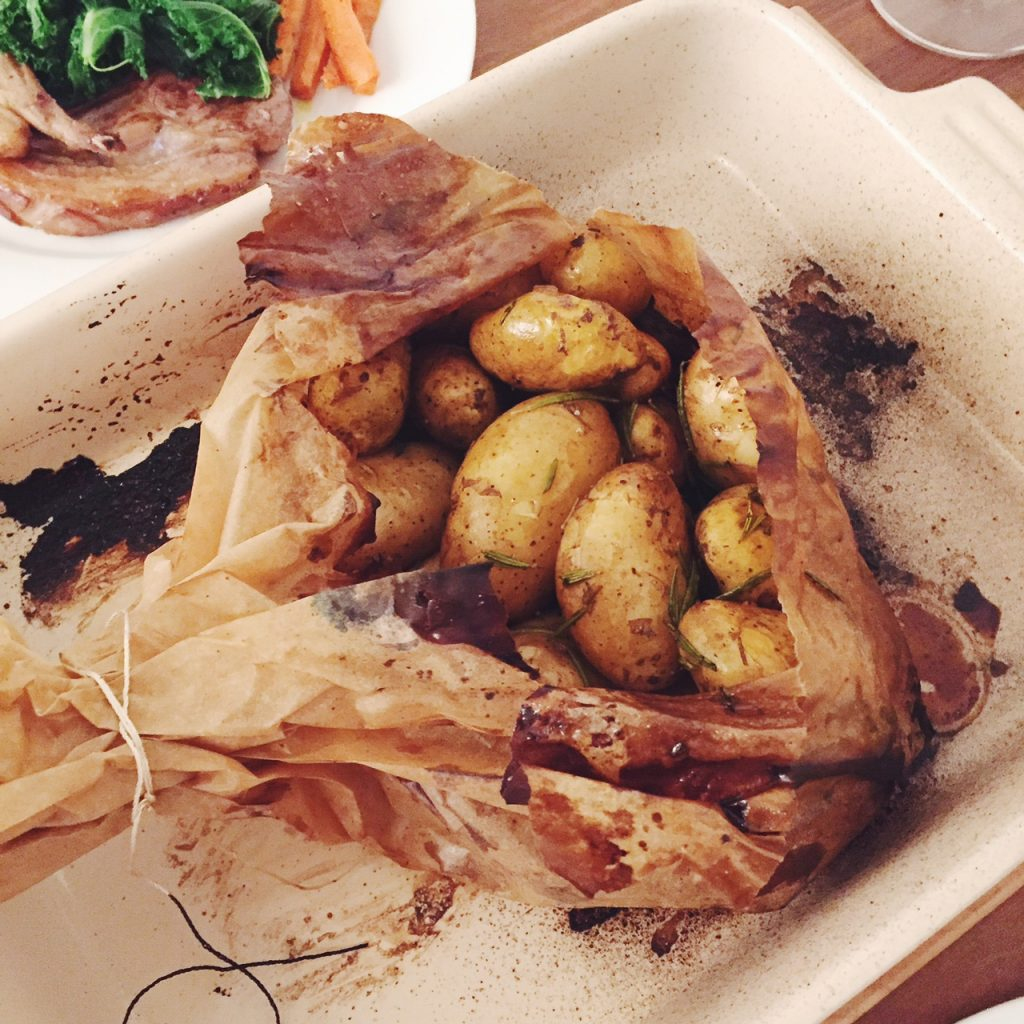 Roast potatoes and lamb cutlets with homemade mint sauce