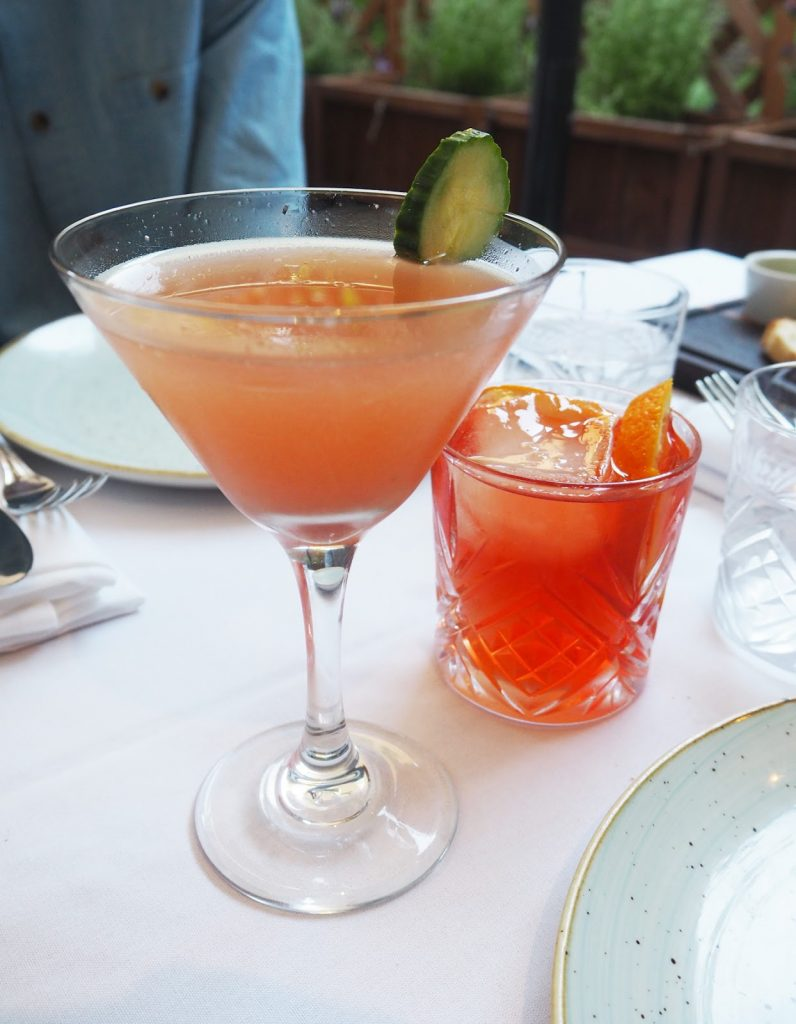 The Artisan Bistro cocktails, Rhubarb and cucumber martini, Negroni