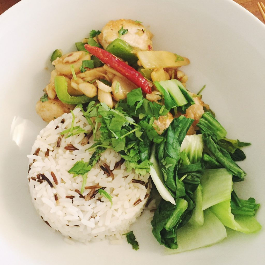 Kung Pao chicken with wild rice and pak choi