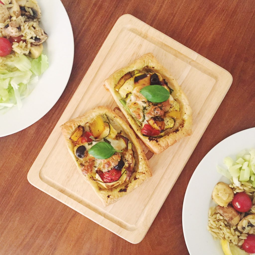 roast vegetable and mozzarella tarts