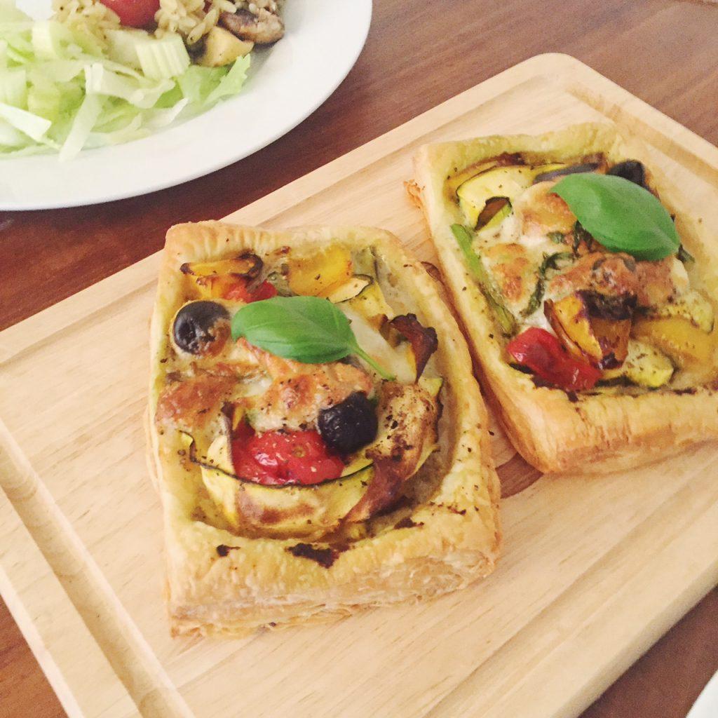 puff pastry, roast vegetable and mozzarella tarts