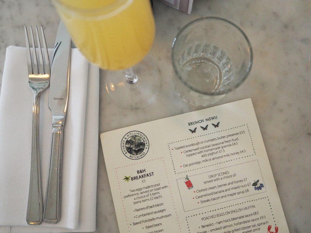 Bourne and Hollingsworth brunch menu