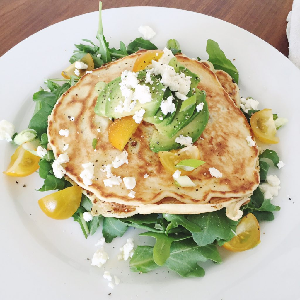 Tomato and feta pancakes