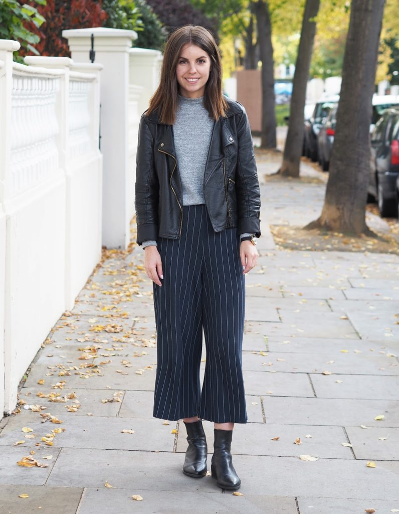 Sweet Monday outfit, pinstripe culottes