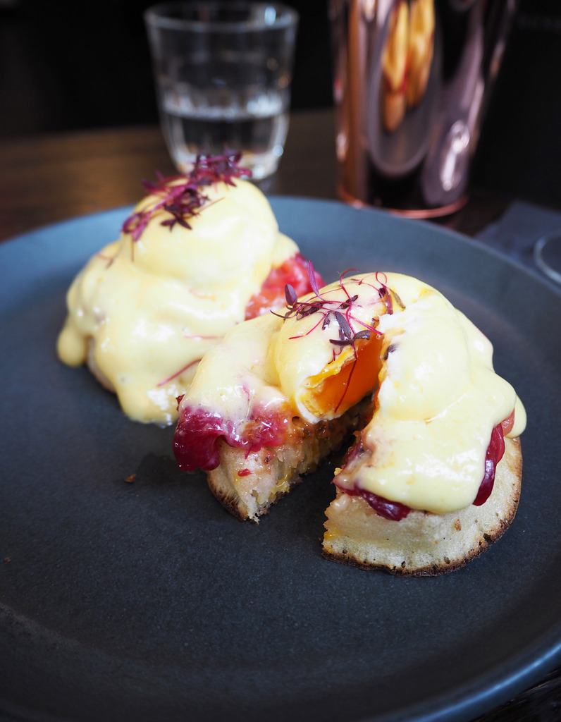 Dirty Bones beetroot cured salmon crumpets