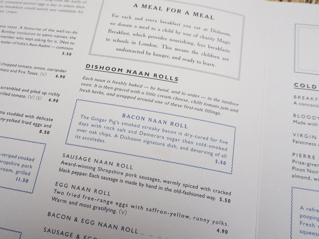Dishoom breakfast menu