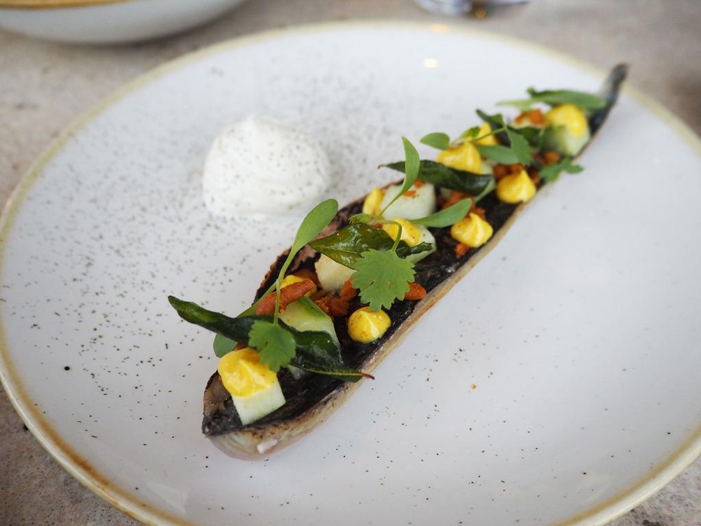 Duck and Waffle charred mackerel starter