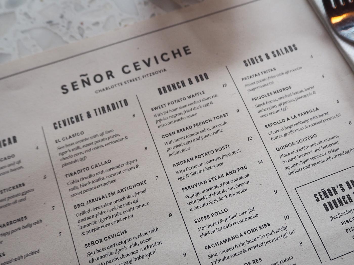 Senor Ceviche brunch menu