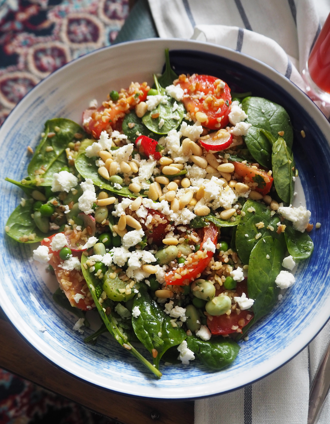 Pea, feta & mint salad