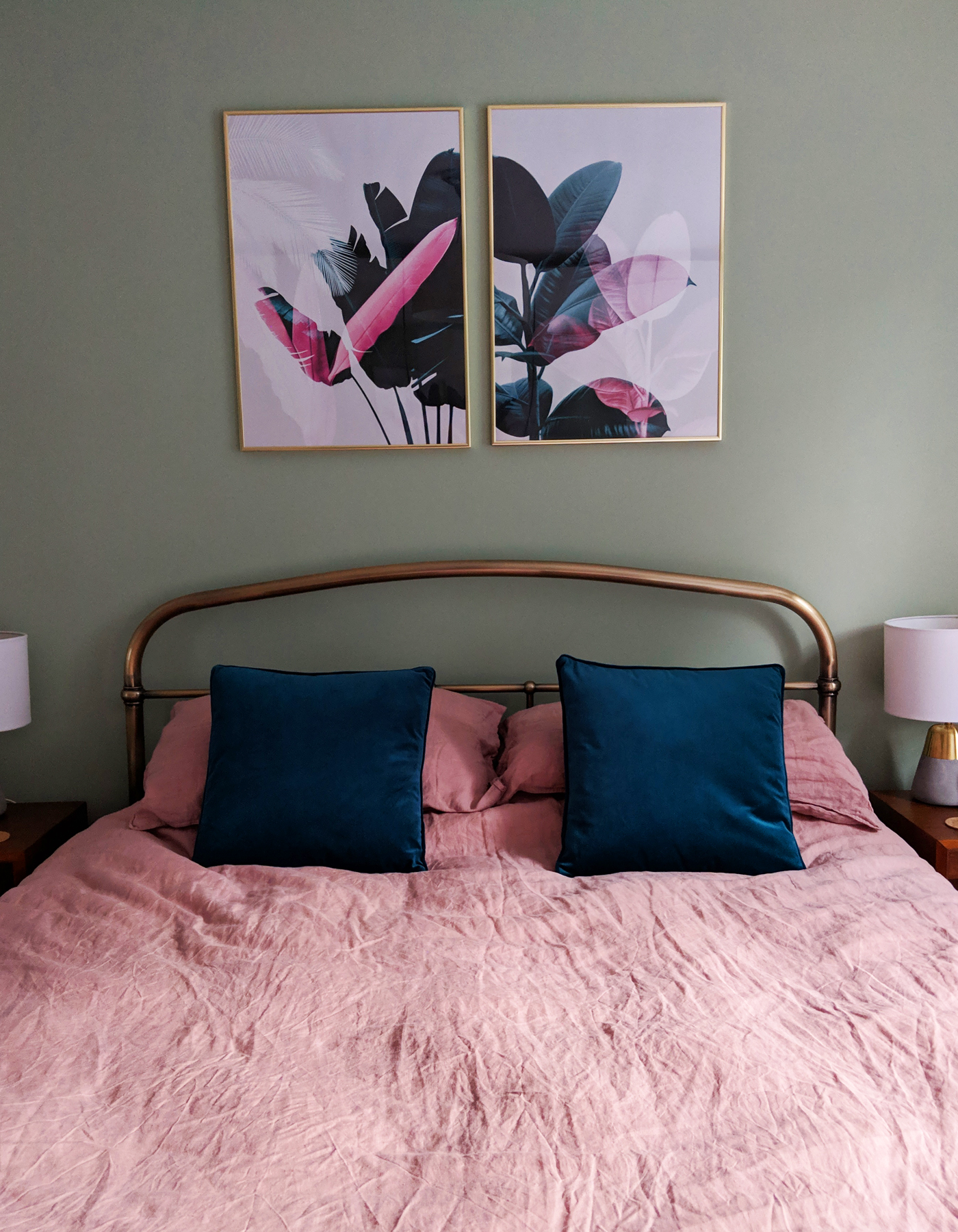 Sage and pink bedroom