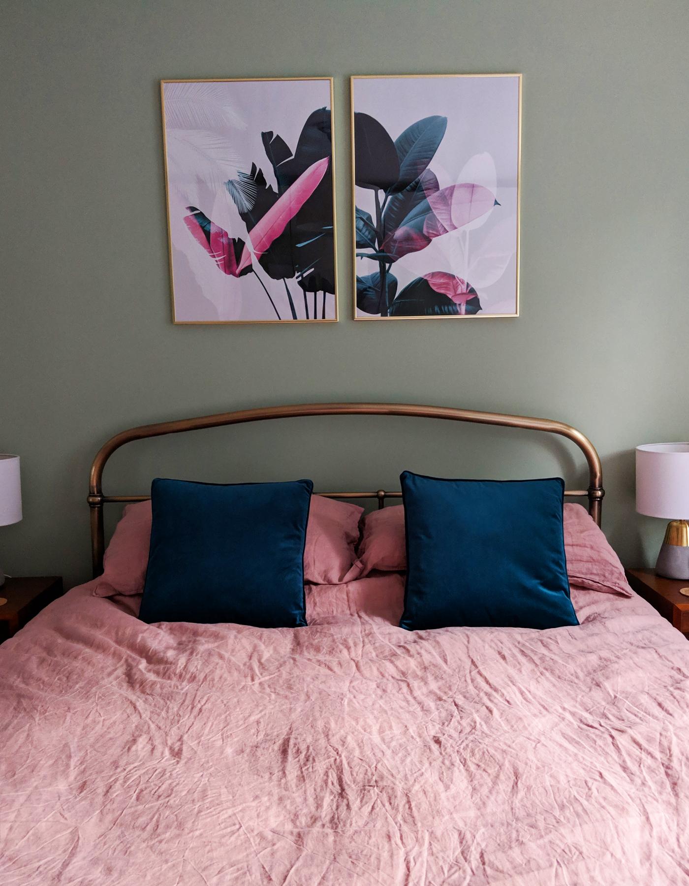 Sage and pink bedroom