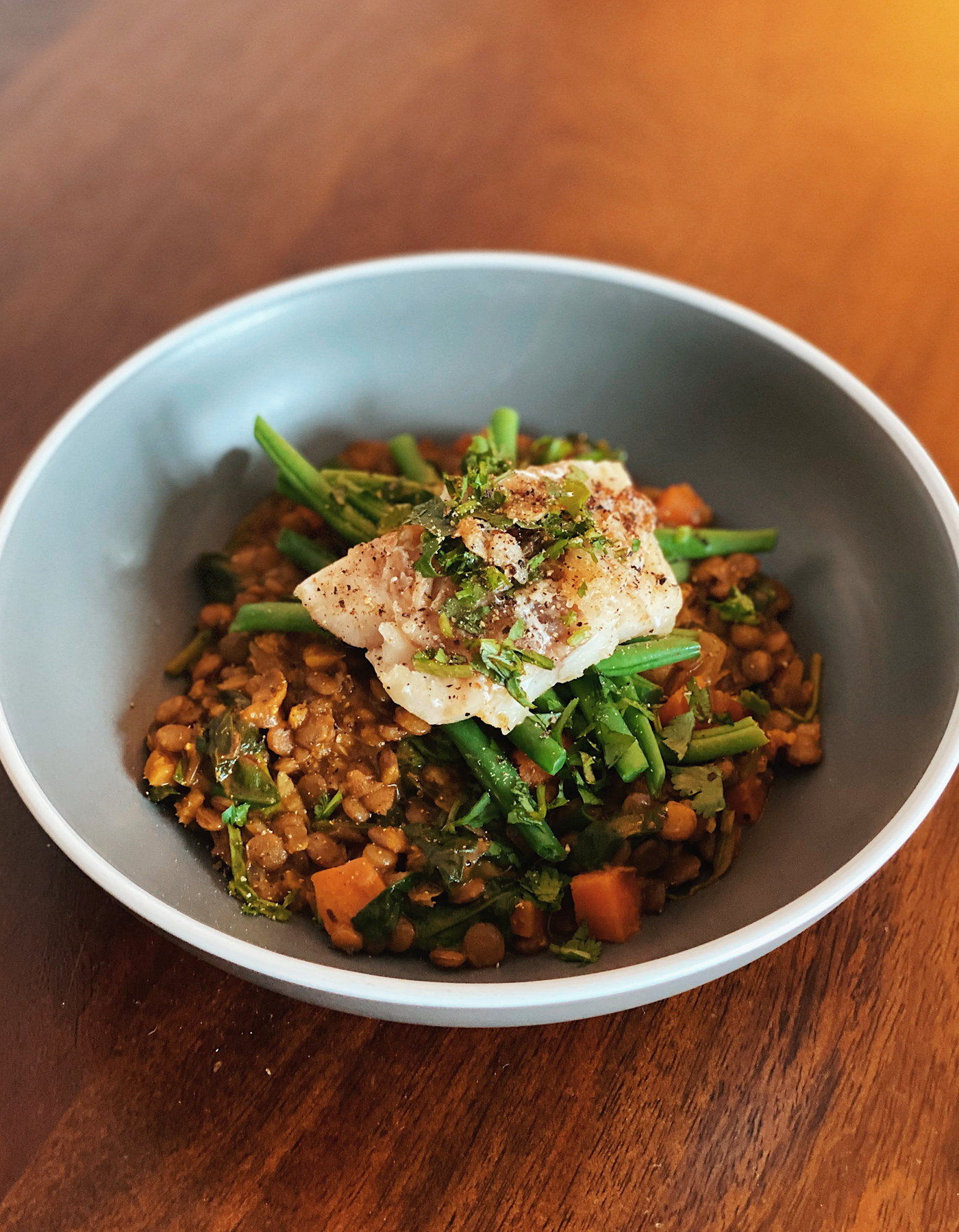 White Fish with Curried Lentils Recipe