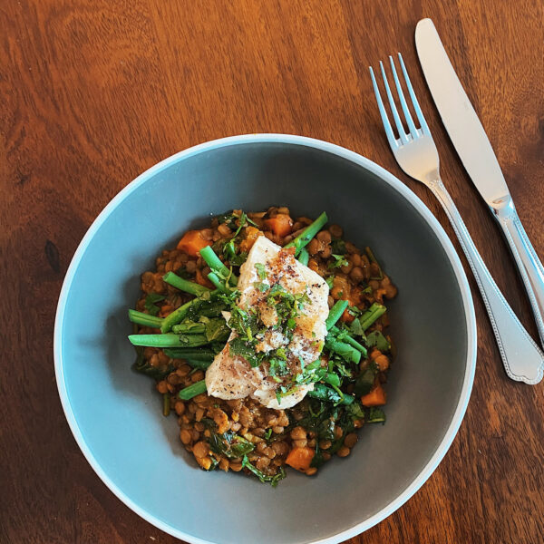 White Fish with Curried Lentils